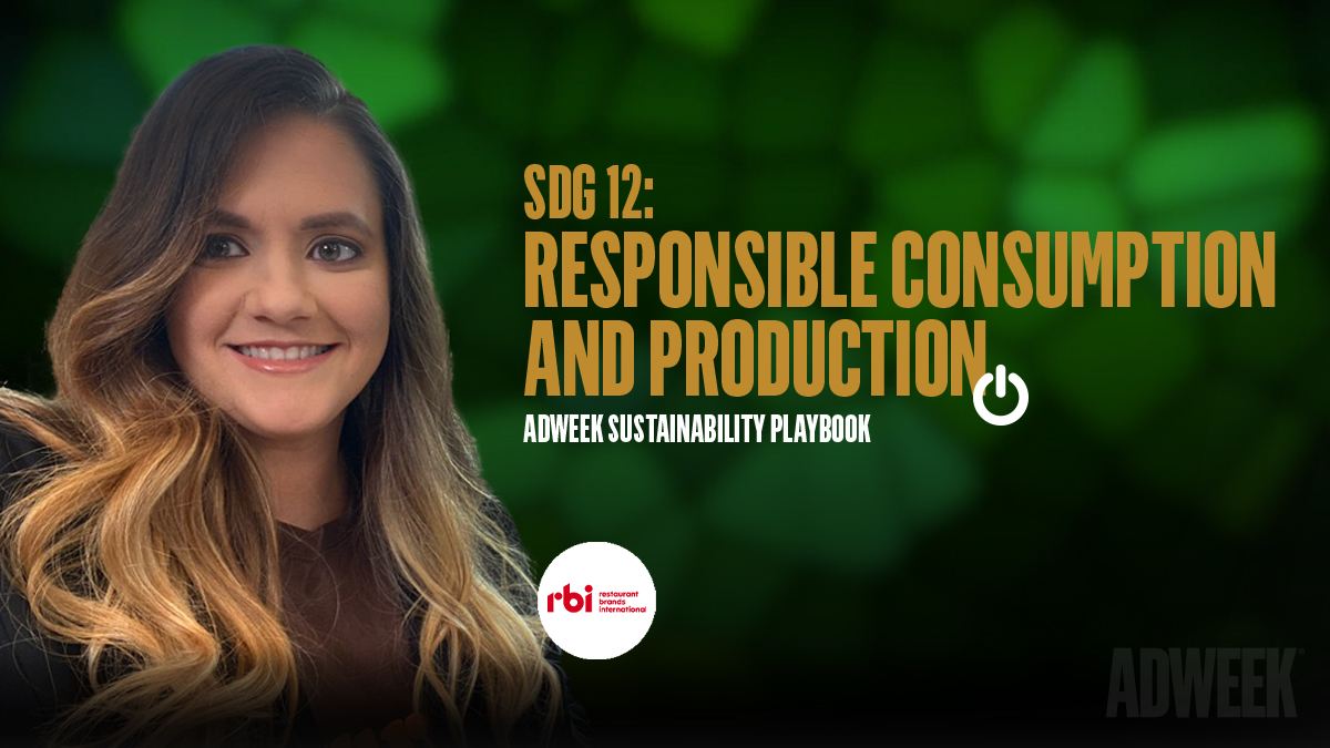 Elmis Medina headshot accompanied by text: SDG 12 RESPONSIBLE CONSUMPTION AND PRODUCTION. Adweek Sustainability Playbook.