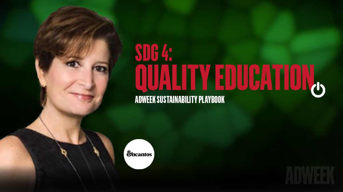 Julie Fleischer Headshot accompanied by text that reads: SDG 4 QUALITY EDUCATION. Adweek Sustainability Playbook.