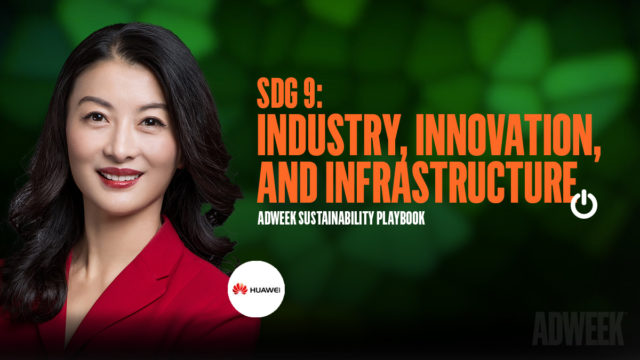 Joy Tan headshot accompanied by text: SDG 9: Industry, Innovation, and Infrastructure. Adweek Sustainability Playbook.