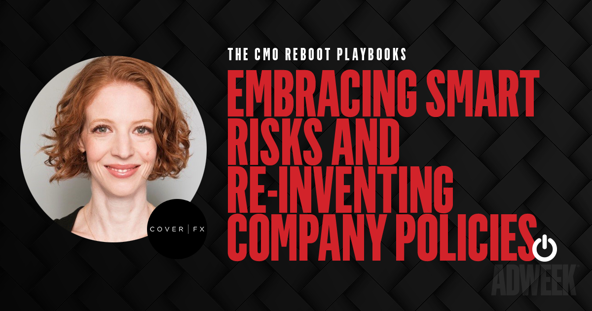 Emily Culp headshot accompanied with text: CMO Reboot Playbook Embracing Smart Risks and Re-inventing Company Policies.