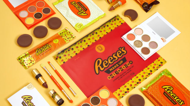 An array of makeup inspired by Reese's candy