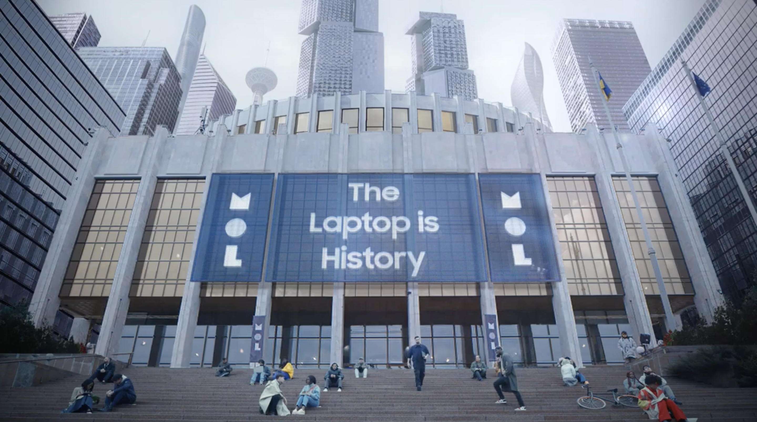 A museum with a large sign that reads