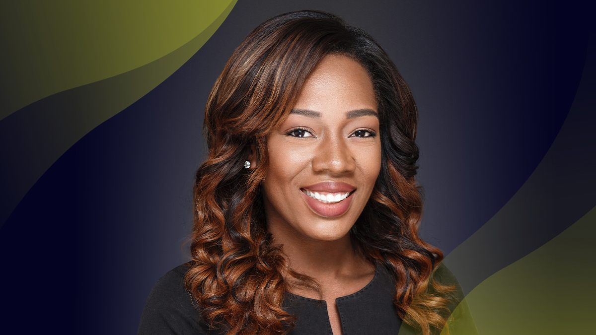 Headshot of Tatiana Holifield against grey background with signature Innovators yellow wave in top left corner.