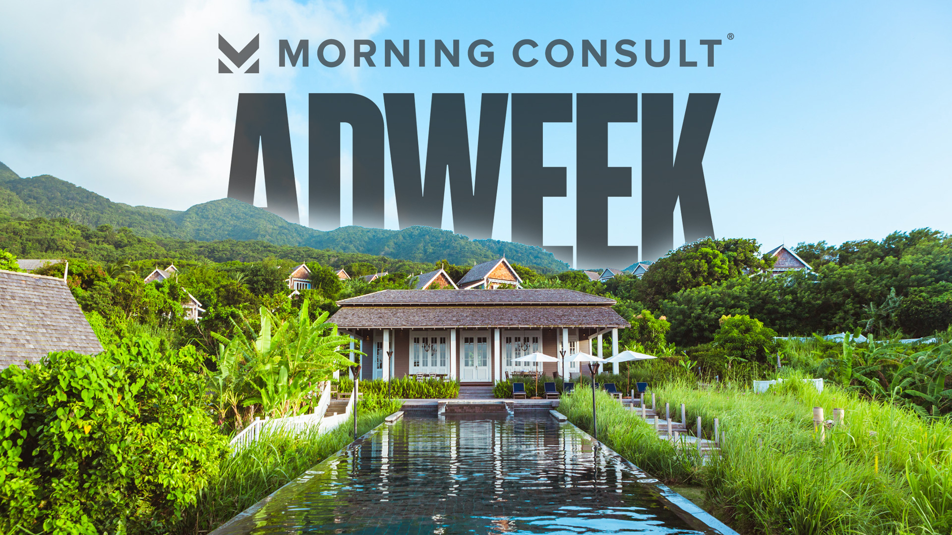 The Morning Consult and Adweek logos behind a garden, pool and home