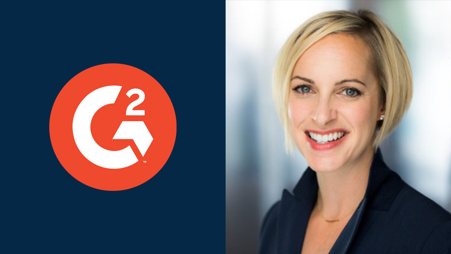 software marketplace g2 logo on the left and on the right a photo of Amanda Malko