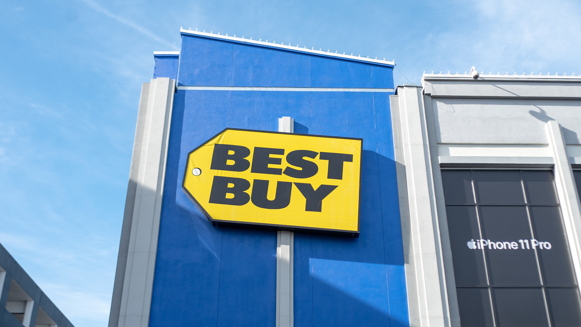 a photo of the outside of a best buy store