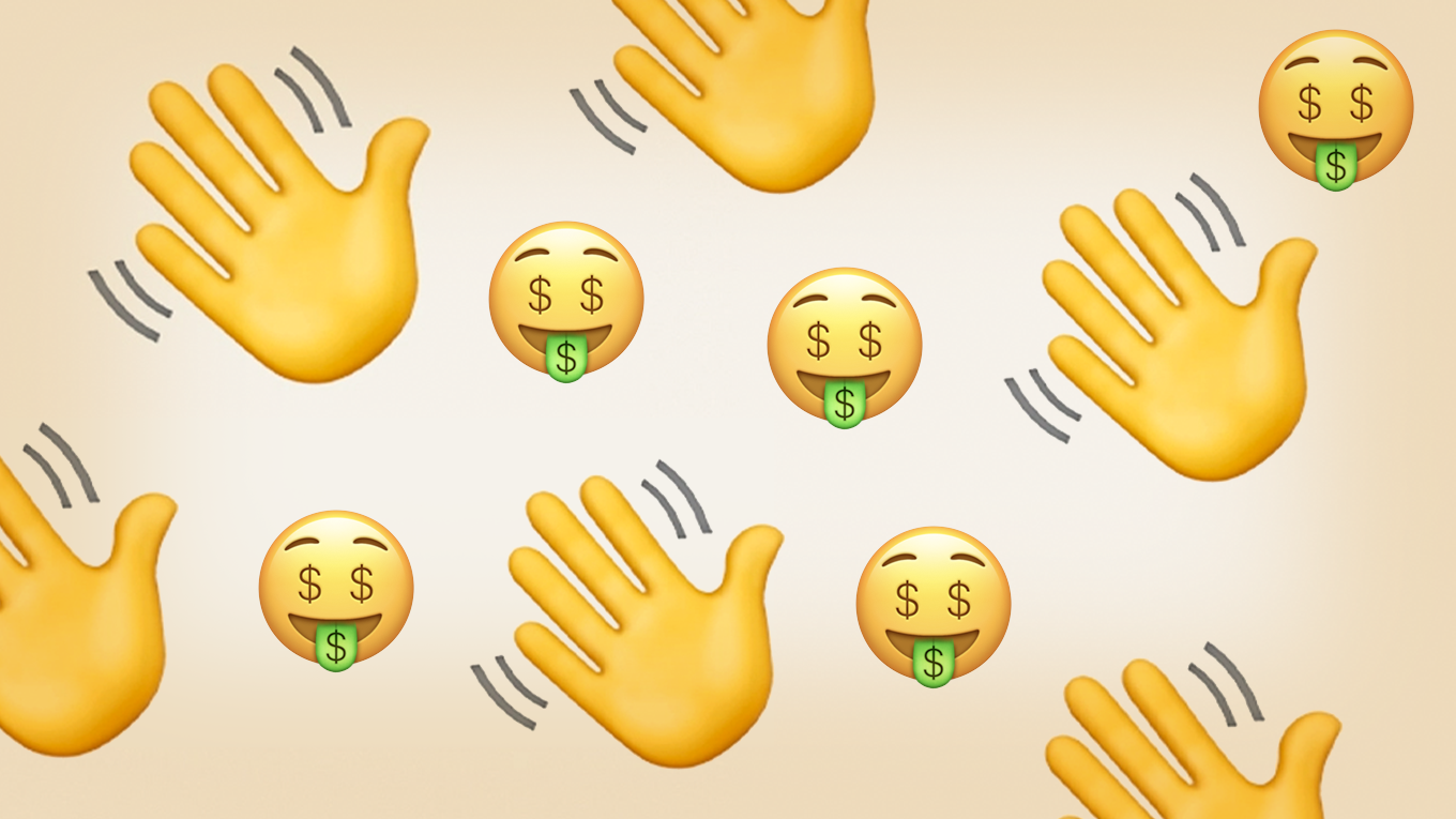 a collage of money mouth face and waving emojis