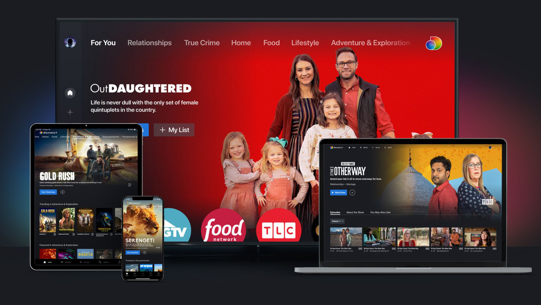 The interface of Discovery streaming service Discovery+ is displayed on a TV, an iPad and a laptop.