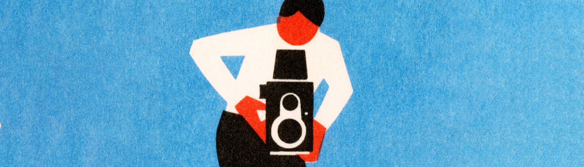 illustrated man with old camera