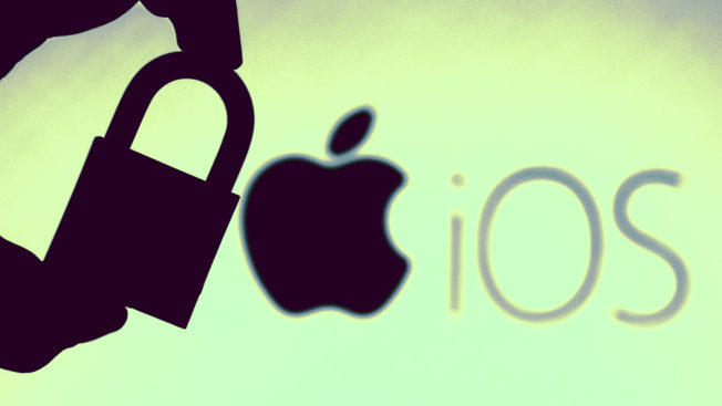 a silhouette of a hand holding a lock and in the background the apple shape logo with the words
