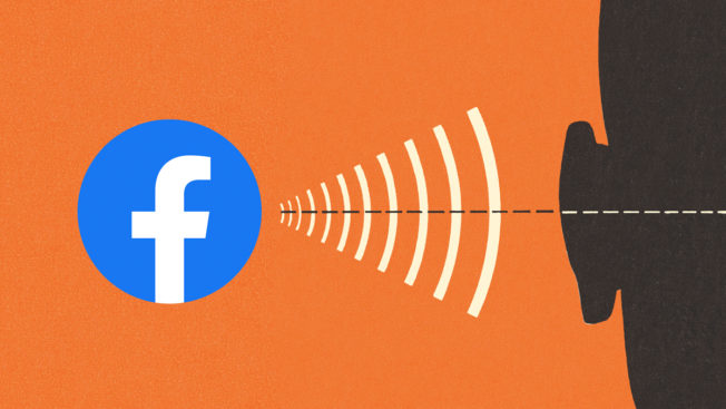 silhouette of a person with a facebook logo and sound waves tgoing toward their ear