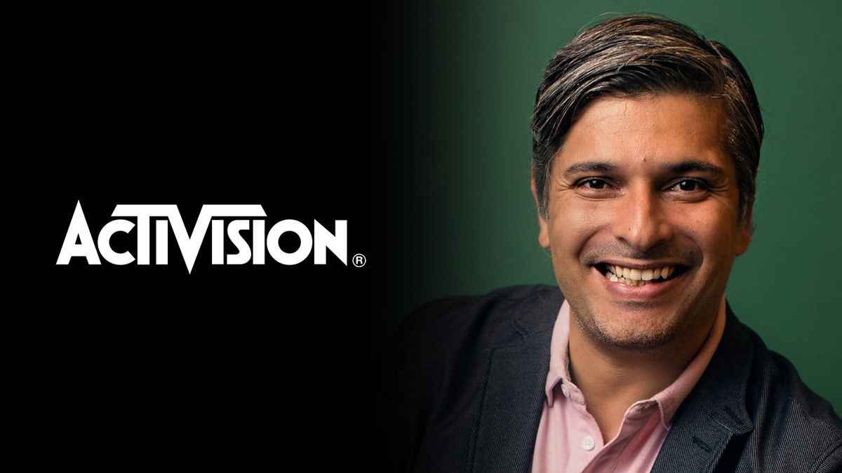 headshot of fernando machado on right with activision logo on left