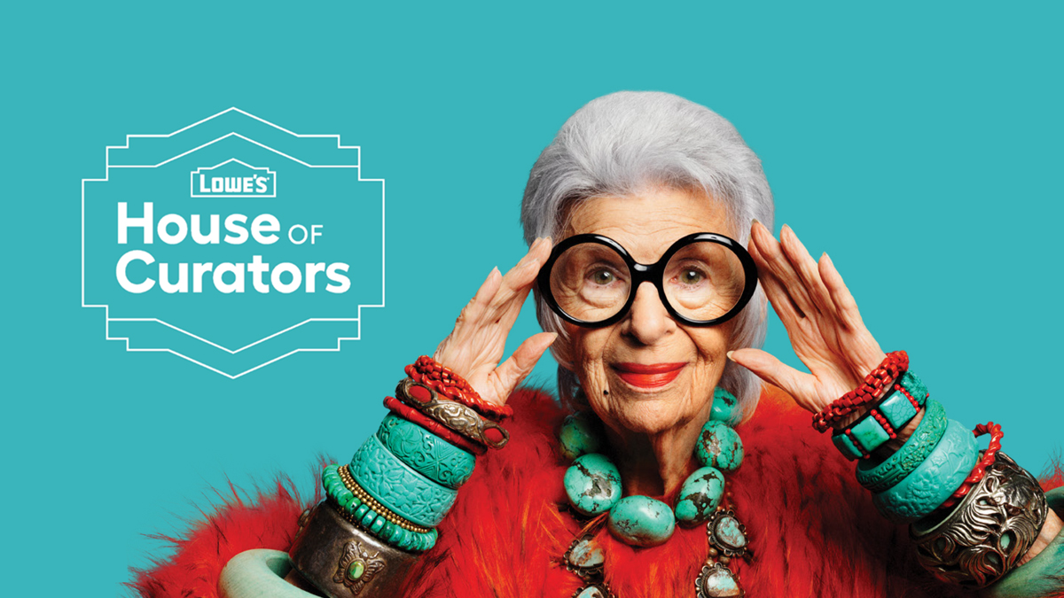 Iconic designer Iris Apfel is the first of a series of curators that Lowe's is partnering with this year.