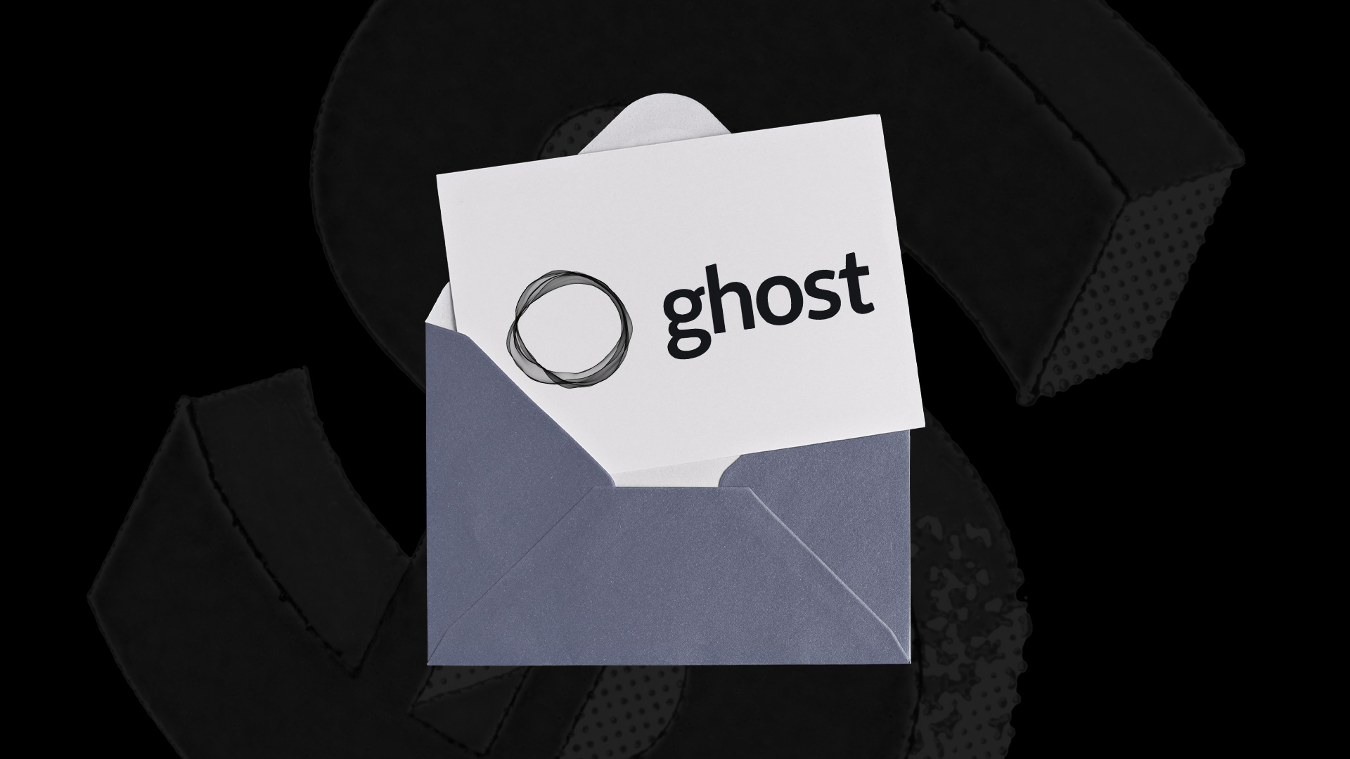 an open envelop partially showing a white piece of paper with the word ghost on it