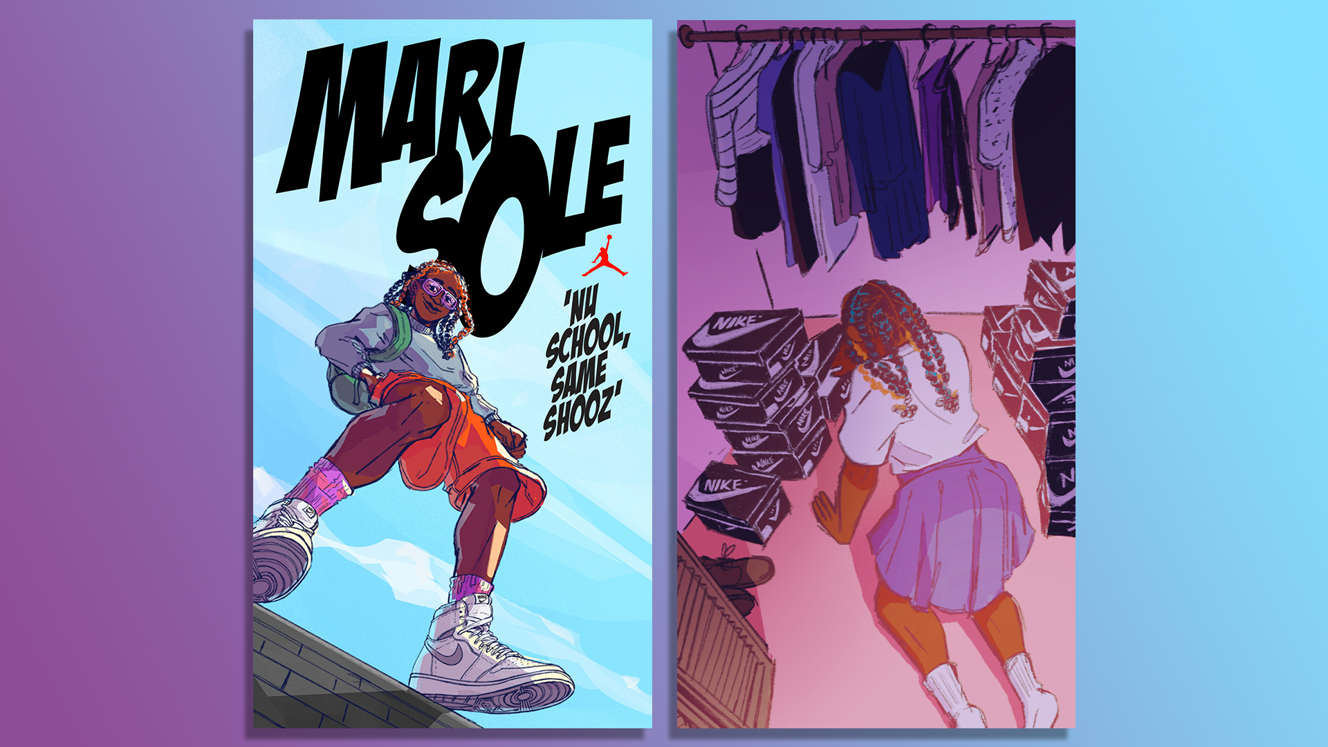 Side-by-side image of MariSole comic cover and an animated girl searching her closet full of Air Jordan sneakers