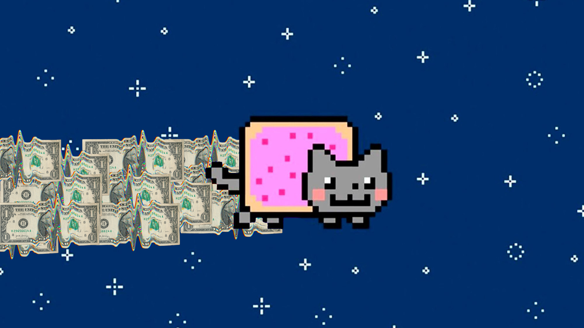 a cat with a poptart body and a trail of money behind it flying through a night sky