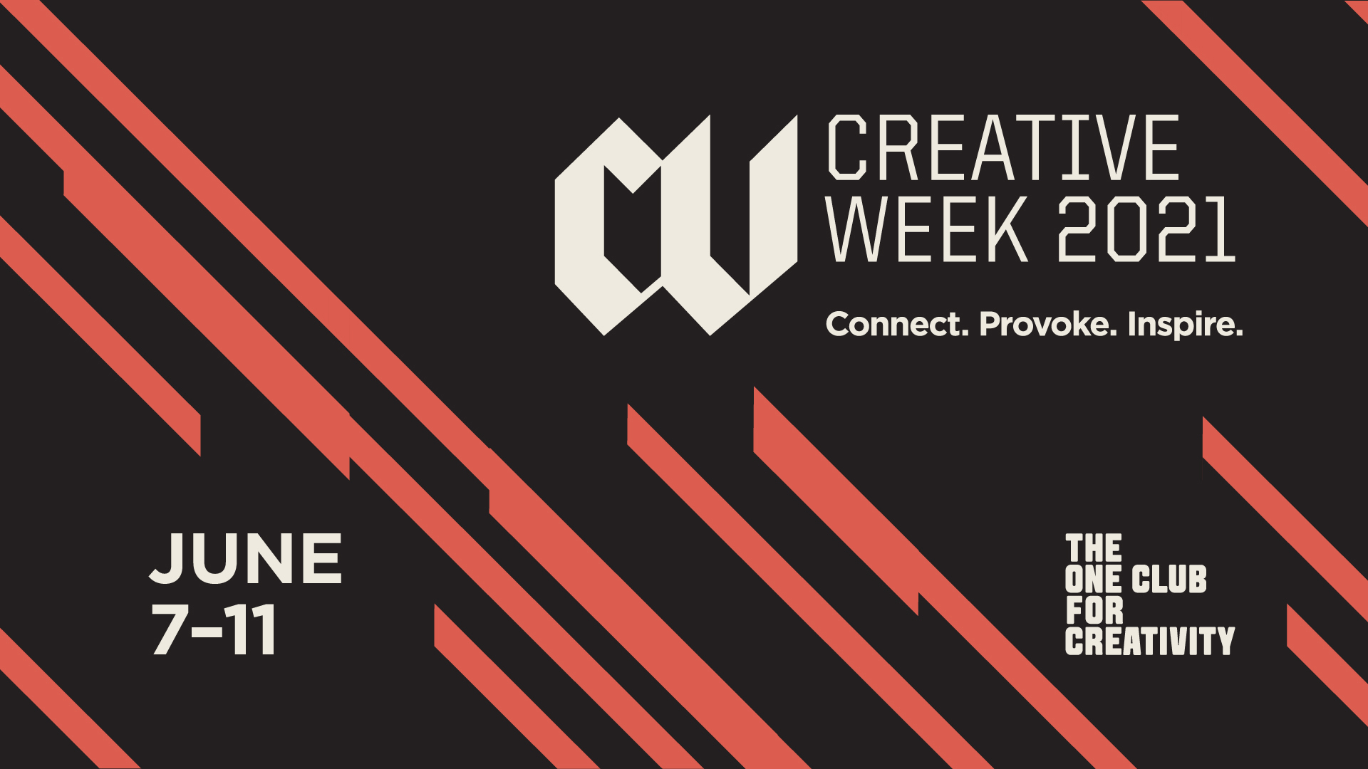 The Creative Week 2021 logo appears alongside The One Club logo and the event dates June 7 through 11