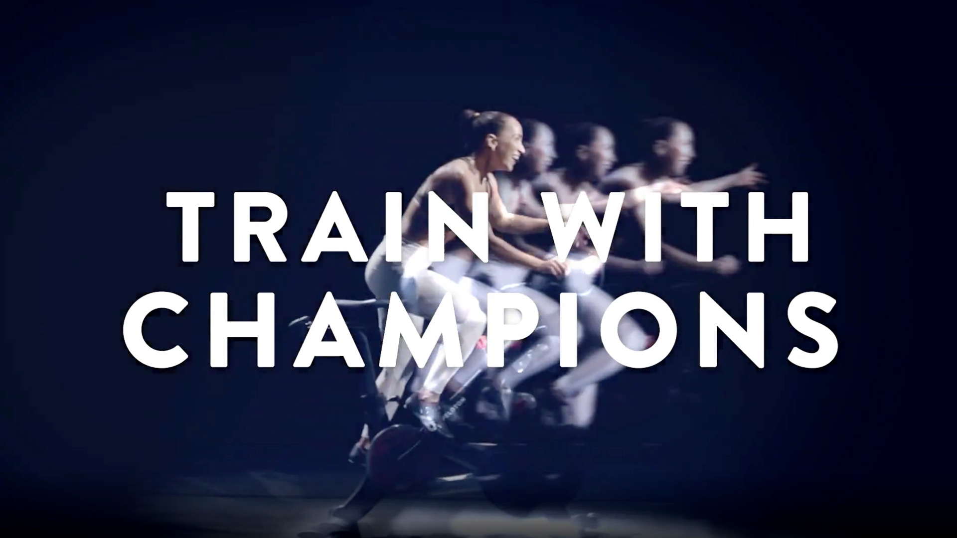 a woman blurred running with Train With Champions over her