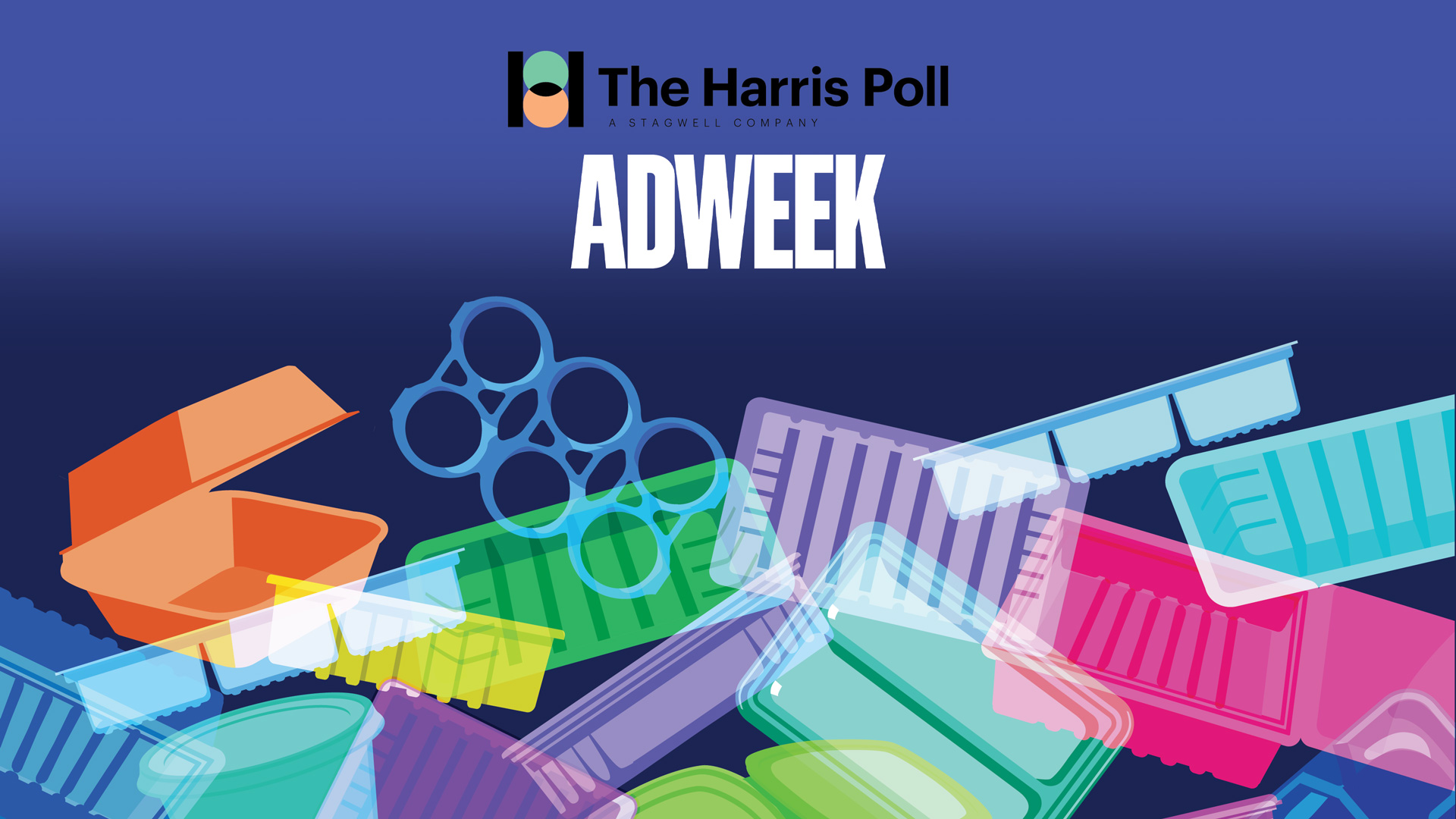 Illustration of single-use products with The Harris Poll and Adweek logos on top