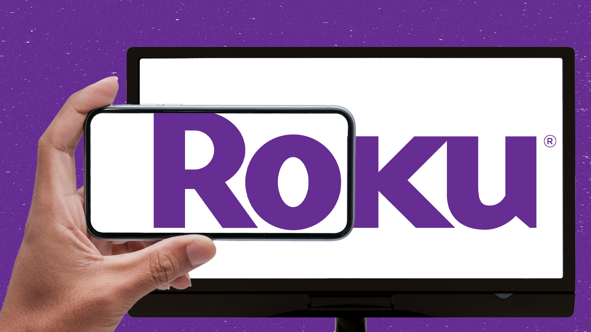 Roku logo on tablet and phone