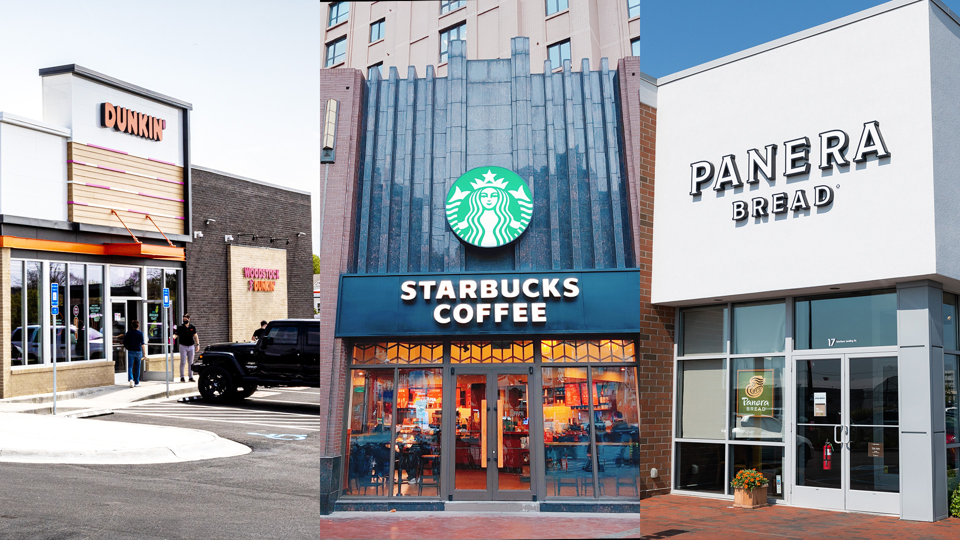 a shopping center outside a starbucks and panera