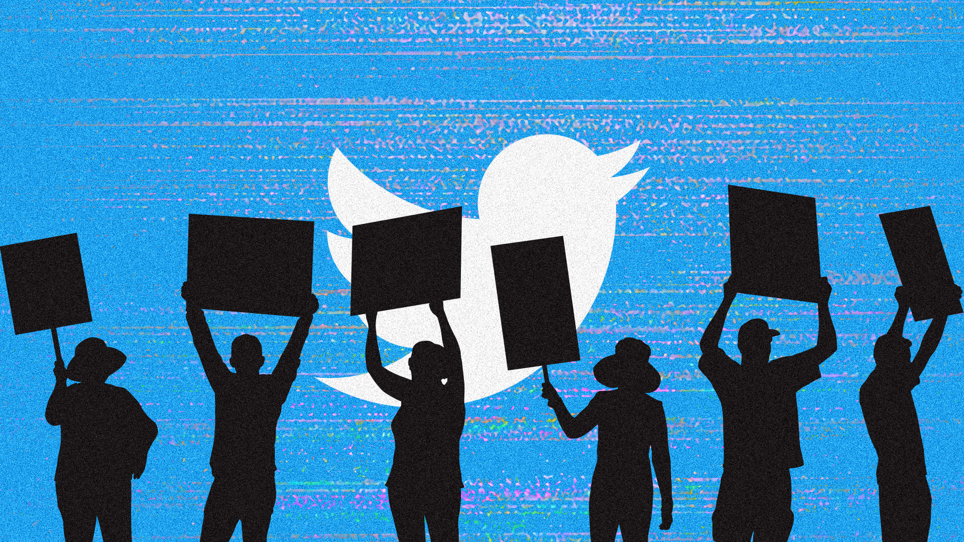silhouettes of people holding up signs with twitter logo in the background