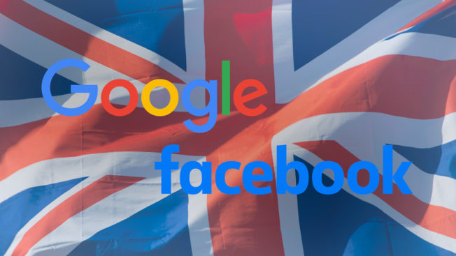 the google and facebook logo with the uk flag as the background