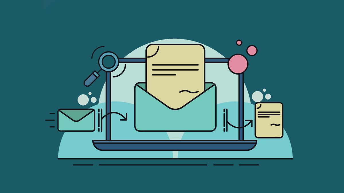 illustration of a machine opening an envelope with a letter in it