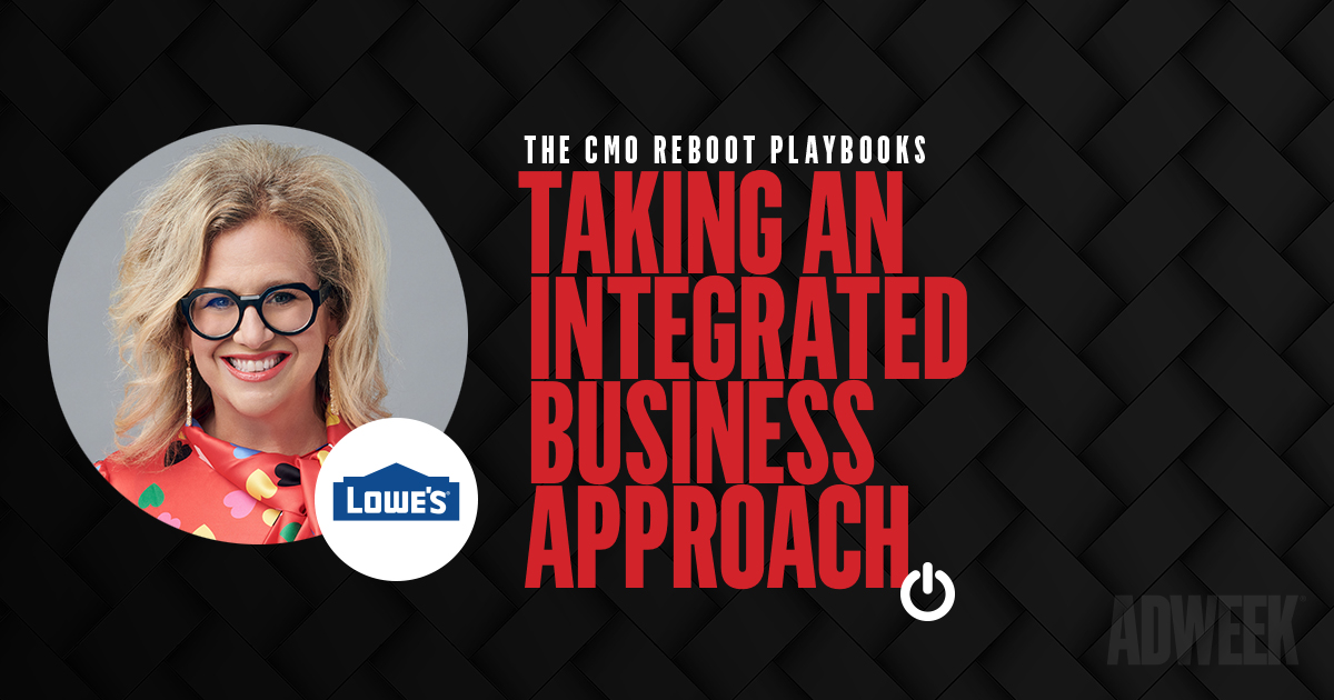 Marisa Thalberg headshot accompanied by text: CMO REBOOT PLAYBOOKS. Taking An Integrated Business Approach.