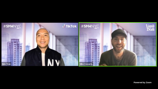 TikTok global head of marketing Nick Tran (left) spoke with Liquid Death co-founder and CEO Mike Cessario