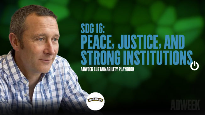 Chris Miller headshot. Text: SDG 16 Peace, Justice, and Strong Institutions. Adweek Sustainability Playbook.