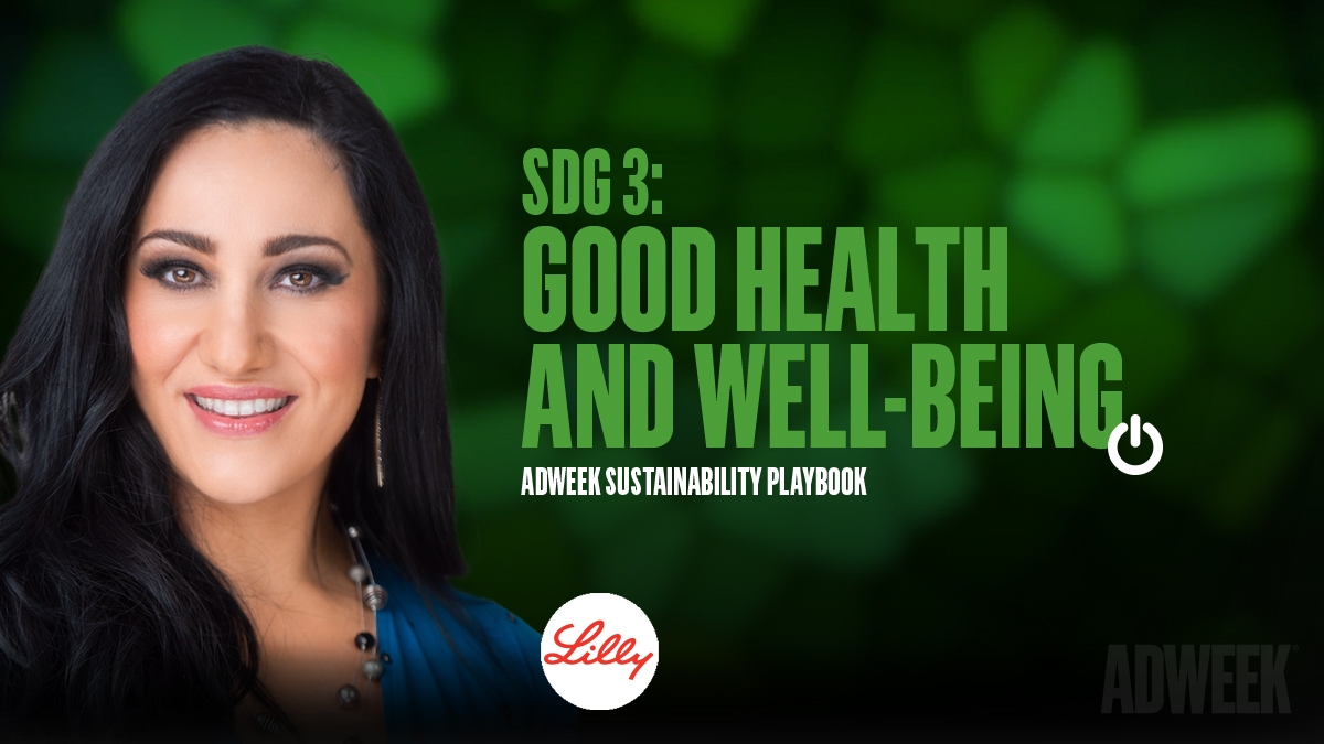 Lina Polimeni headshot. Text: SDG 3 GOOD HEALTH AND WELL-BEING. Adweek Sustainability Playbook.