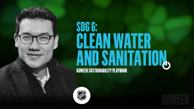 Omar Mitchell headshot. Text: SDG 6 Clean Water and Sanitation. Adweek Sustainability Playbook.