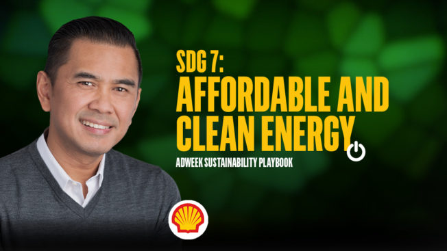Dean Aragon headshot. Text: SDG 7 Affordable and Clean Energy. Adweek Sustainability Playbook.
