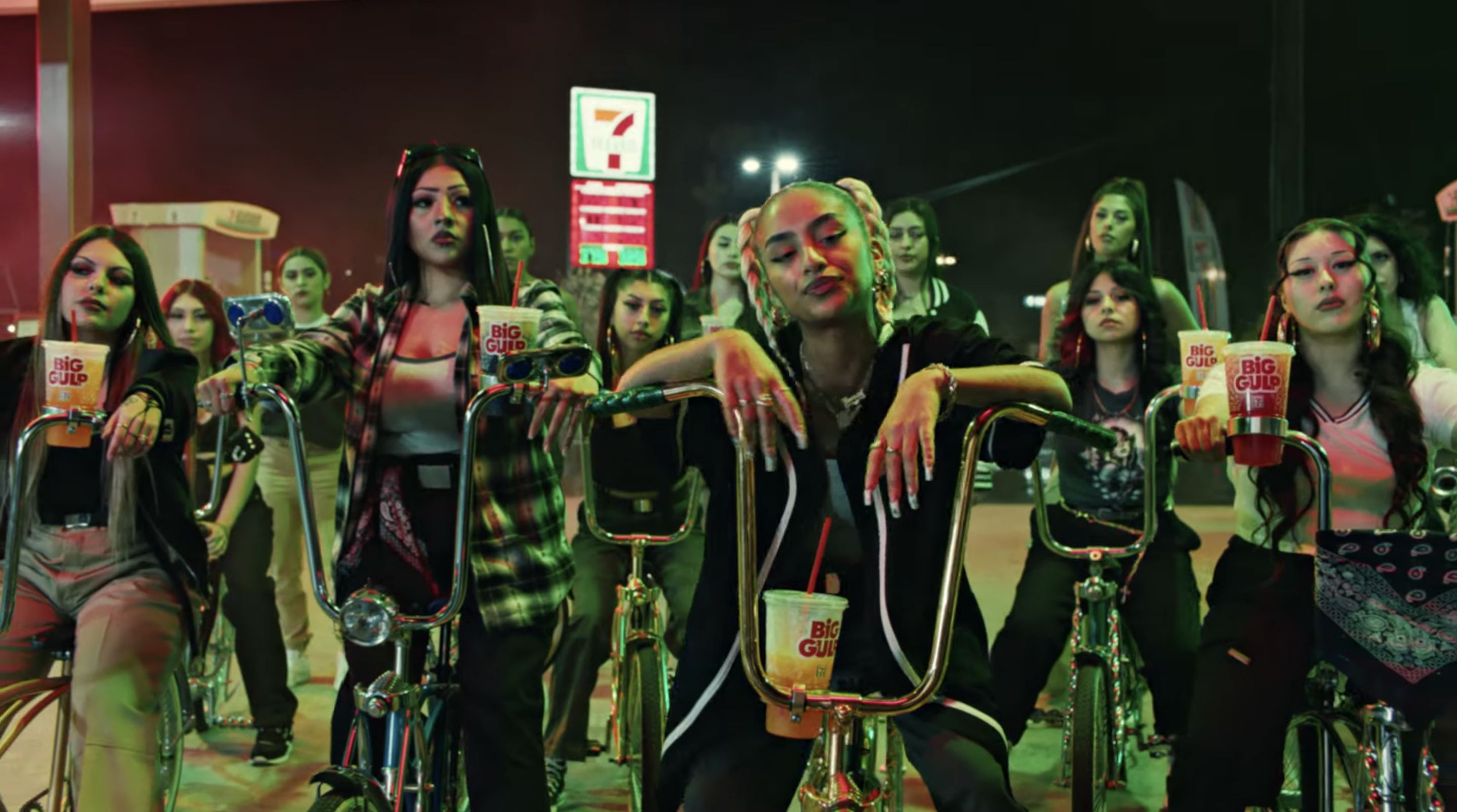 All-female lowrider bike club looks directly at camera