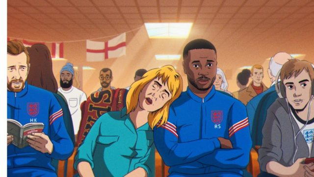 Animation featuring famous footballers in a waiting room