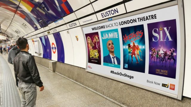 Subway posters promoting reopening of London theatres