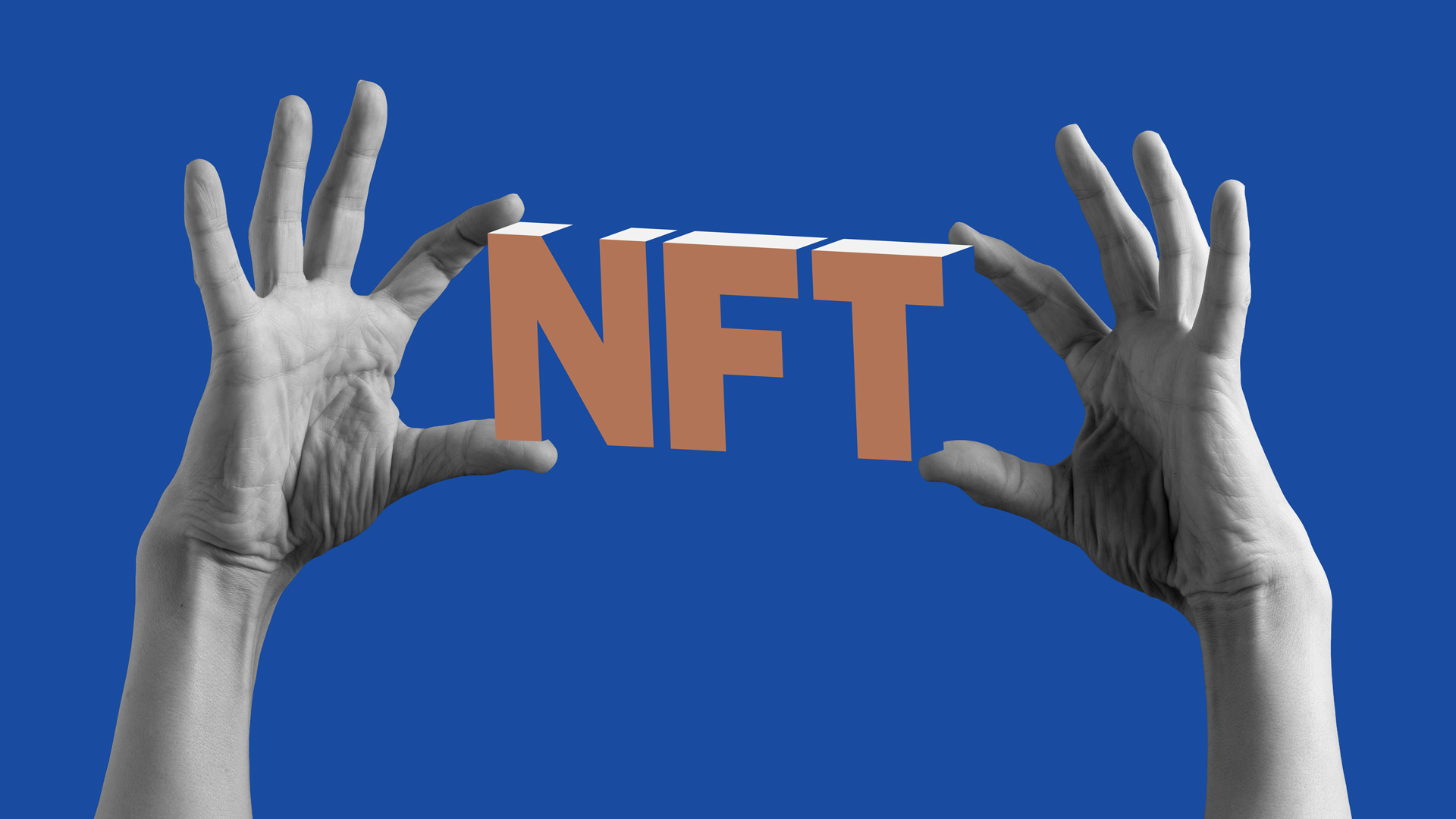 hands holding the word NFT