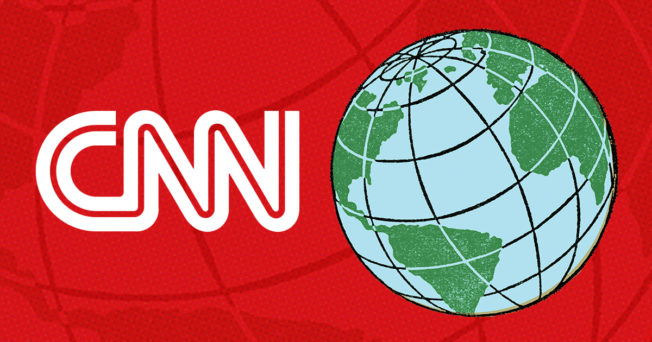 cnn logo and a globe on the right