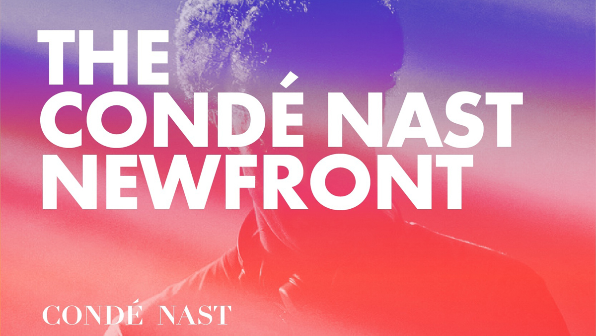 the conde nast newfront over blue and red background