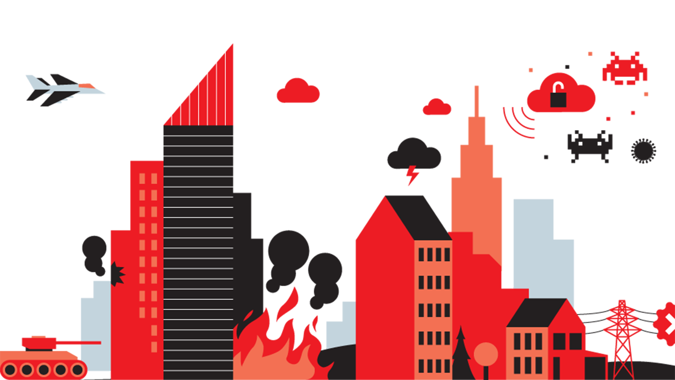 City skyline in red and black with fire, lightning