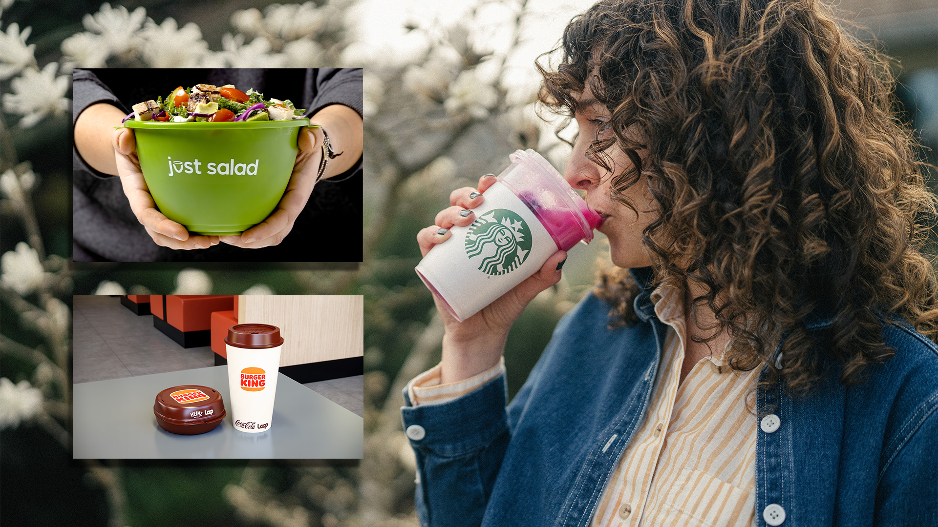 a woman drinking out of a starbucks cup on the right and someone holding a just salad container on the top left and reusable burger king containers on the bottom left
