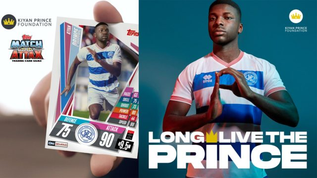 Footballer Kiyan Prince on a trading card