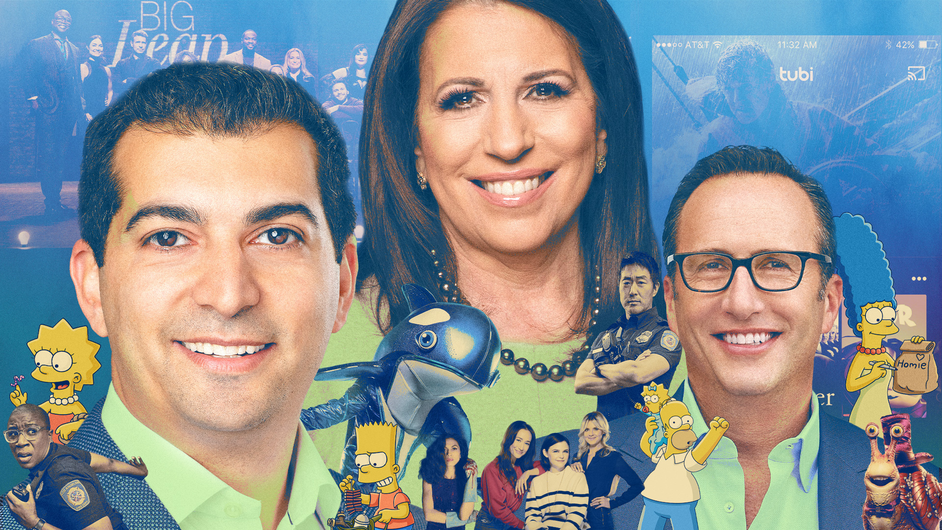 Tubi founder and CEO Farhad Massoudi, Fox Corp. president of advertising sales Marianne Gambelli and Fox Entertainment CEO Charlie Collier