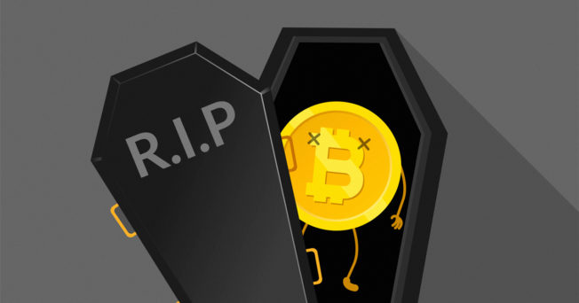 Bitcoin in a coffin with letters RIP