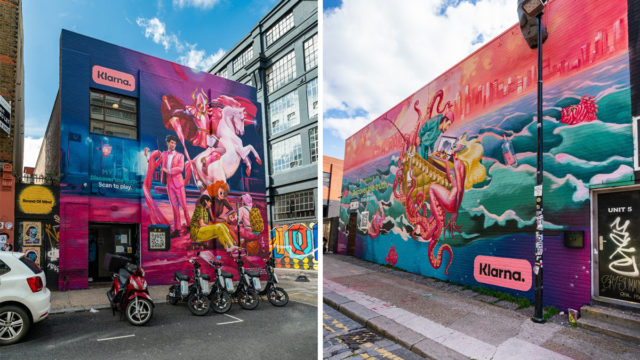 Wall murals featuring mythical creatures for Klarna's U.K. campaign