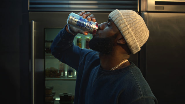 lebron james drinking a mountain dew beverage