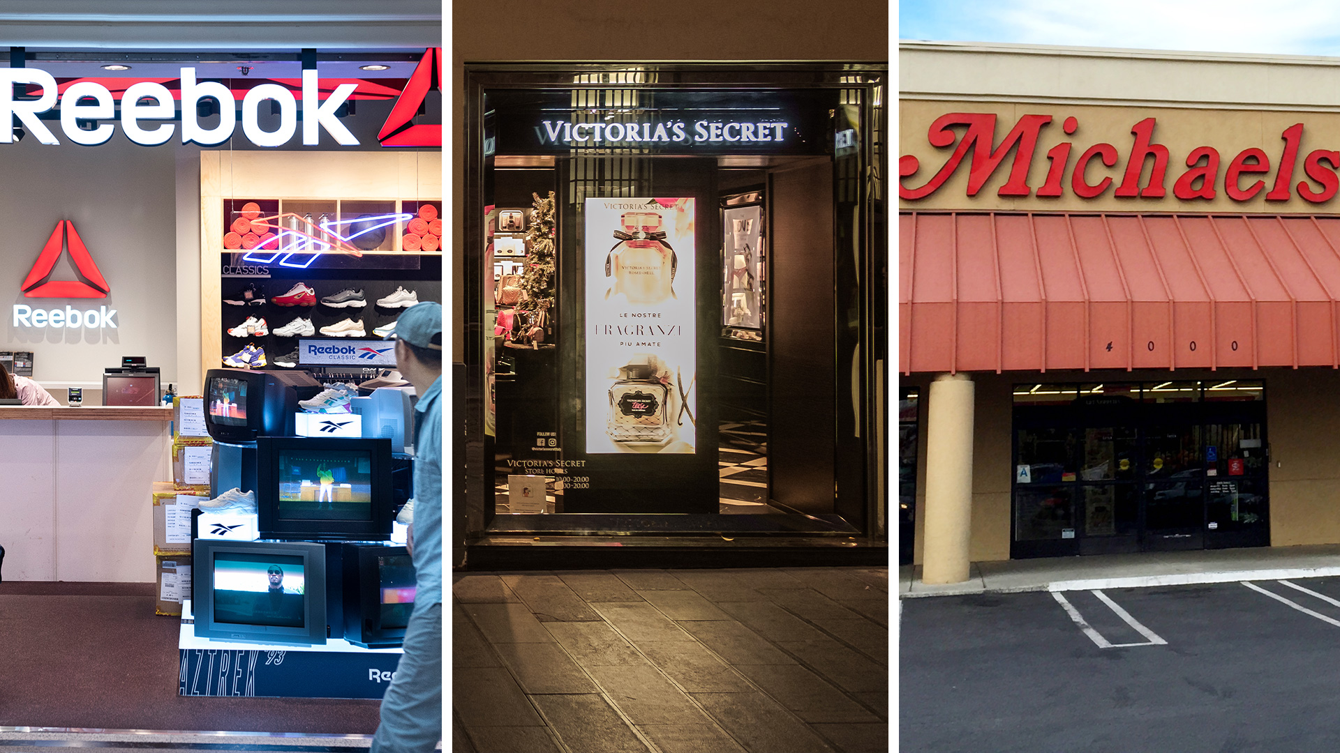 storefront of Reebok, Victoria's Secret and Michaels