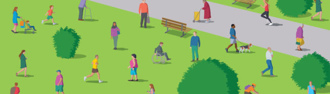 Illustration of people in a park