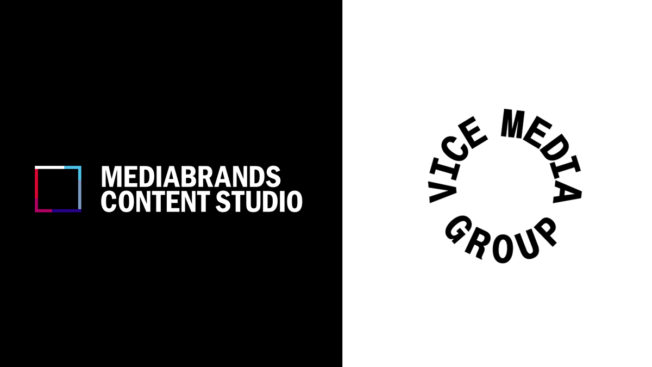 Logos for Mediabrands Content Studio and Vice Media Group
